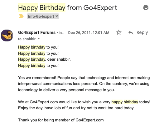 birthday emails to make forum popular among members