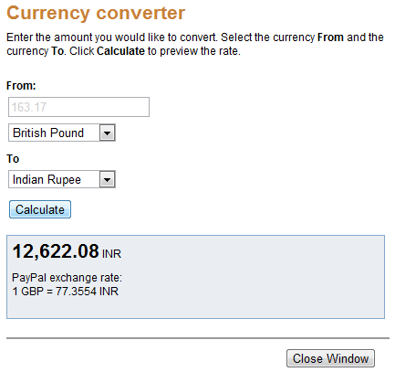 Currency Conversion PayPal from GBP to INR