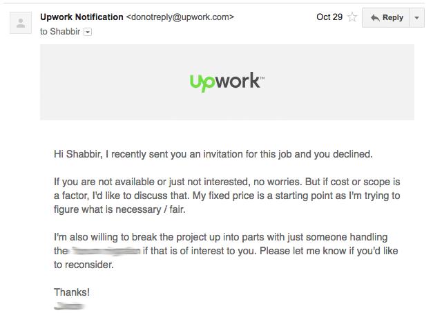 Upwork Decline Invite Email Screenshot
