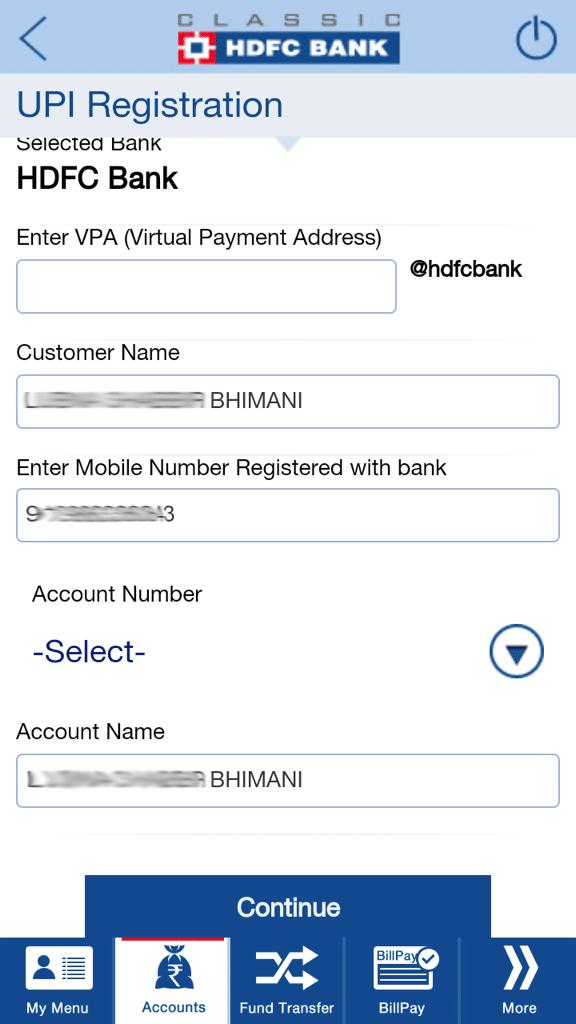 UPI Registration HDFC Bank