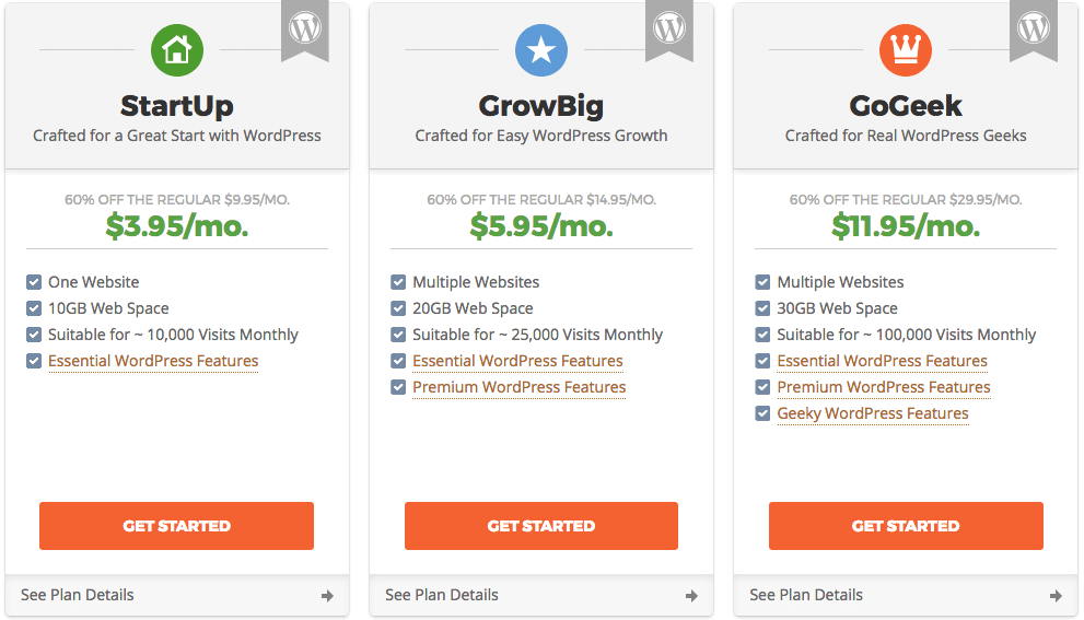 siteground plans for building a WordPress website