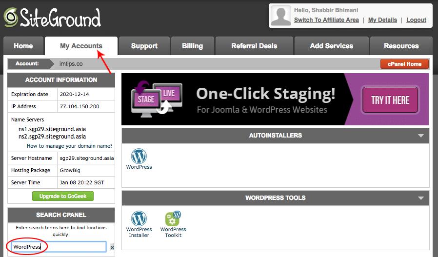 WordPress in cPanel to Start a blog