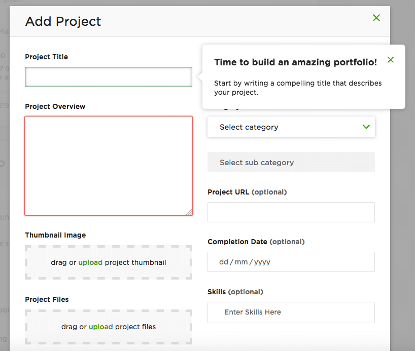 Add Past Project to Get Upwork Profile Approved