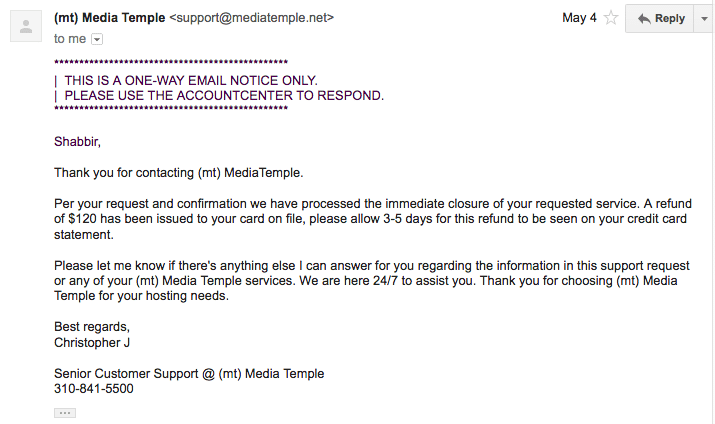 Closed MT and Refund Email