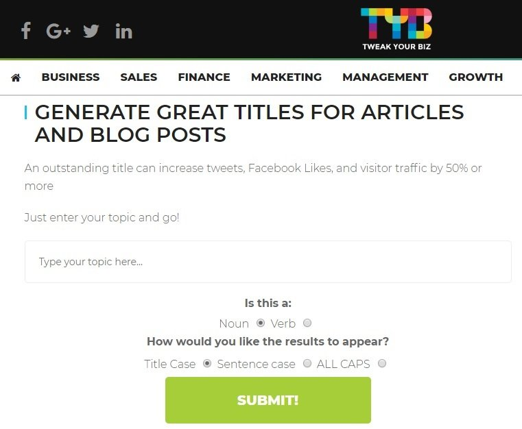 Tweak Your Biz blog title generator