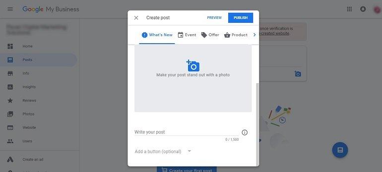 Create post in google my business dashboard