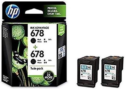 HP 678 Black Original Ink Advantage Cartridges, Pack of 2