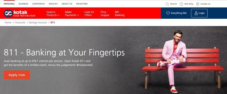 Kotak Mahindra Bank 811 Digital Savings Account.