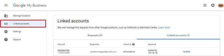 Linked Accounts in google my business