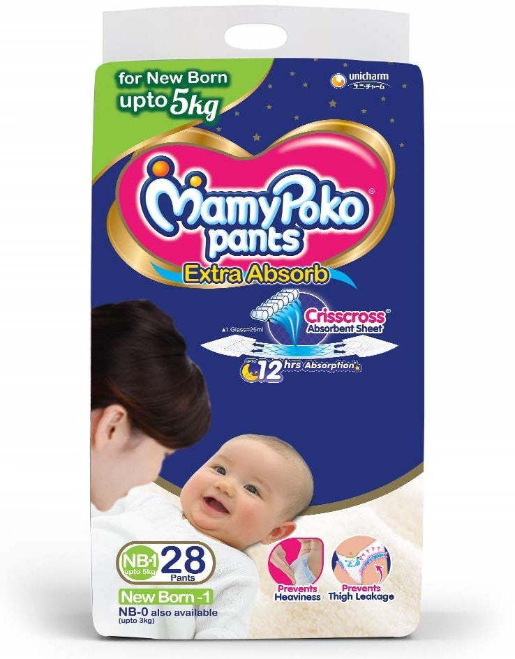 MamyPoko Pants Extra Absorb Diapers, New Born (28 Count)