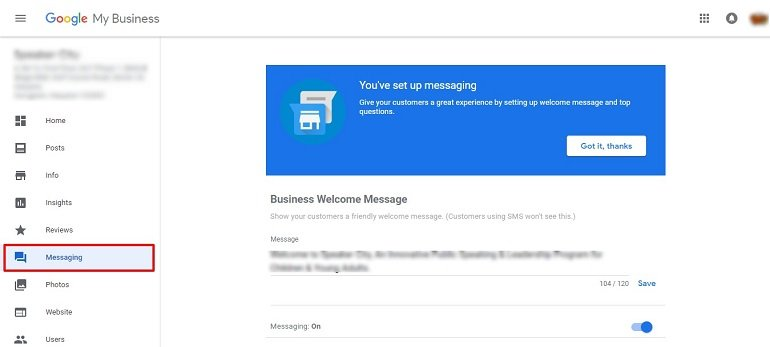 Messages on google business page