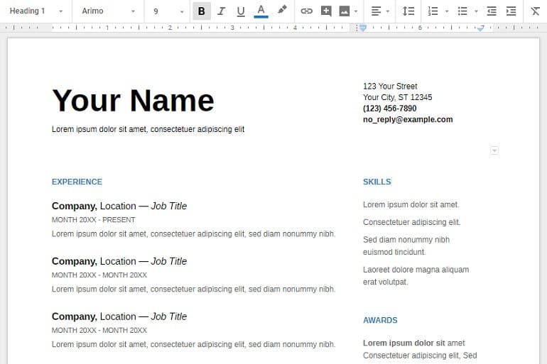 Arimo google fonts for resume