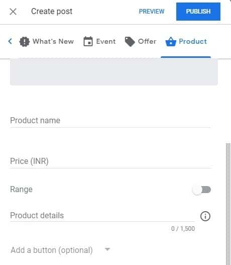 Create post on google my business page