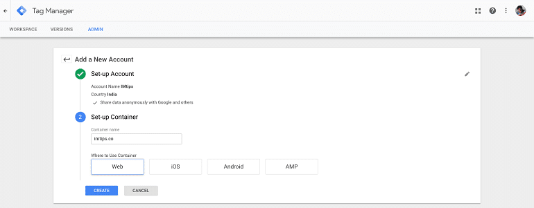 New account setup in google tag manager