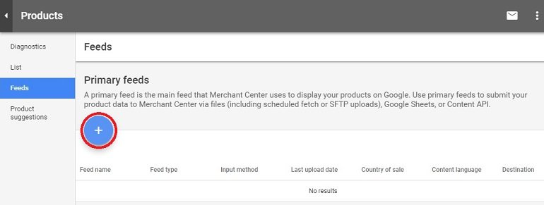 Primary feed in google merchant center