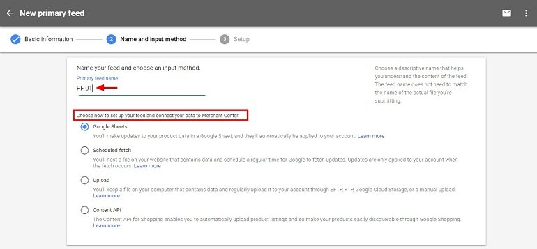 Primary feed setup in google merchant center