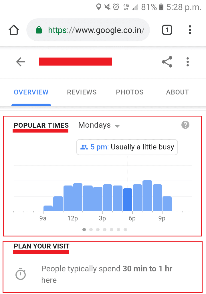 mobile search result on google for google my business listing
