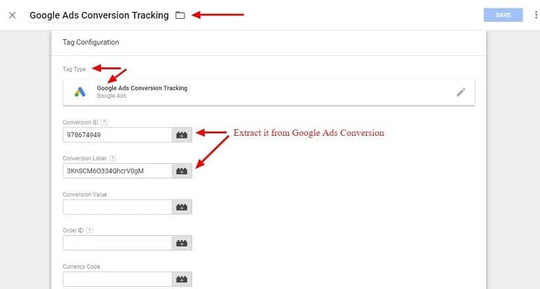 Tag configuration for Google Ads Conversion in Google Tag Manager