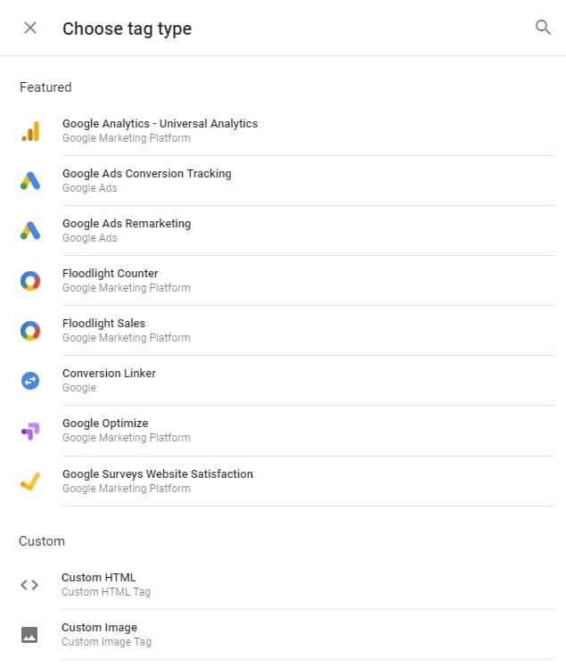 Tag types in google tag manager
