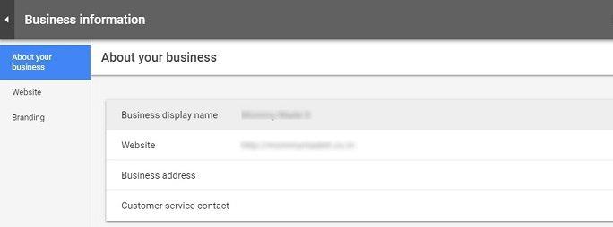 Update business information in google merchant center