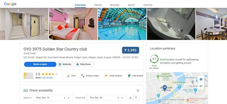 hotel search on google