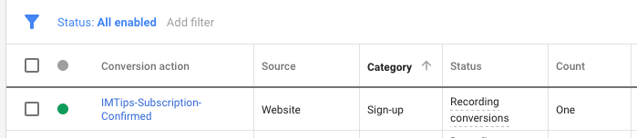 Recording Conversions in Google Ads