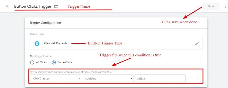Button click tracking trigger in Google tag manager