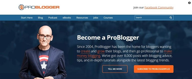 ProBlogger Blog Above the fold