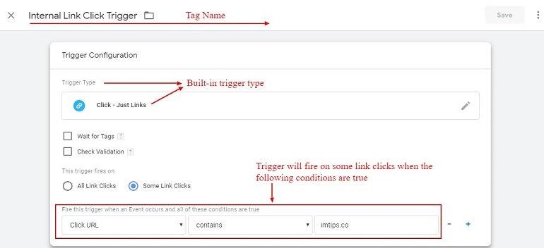 internal link click trigger in gtm