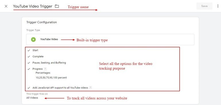 youtube video tracking trigger in gtm