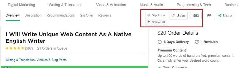 Save for later in fiverr