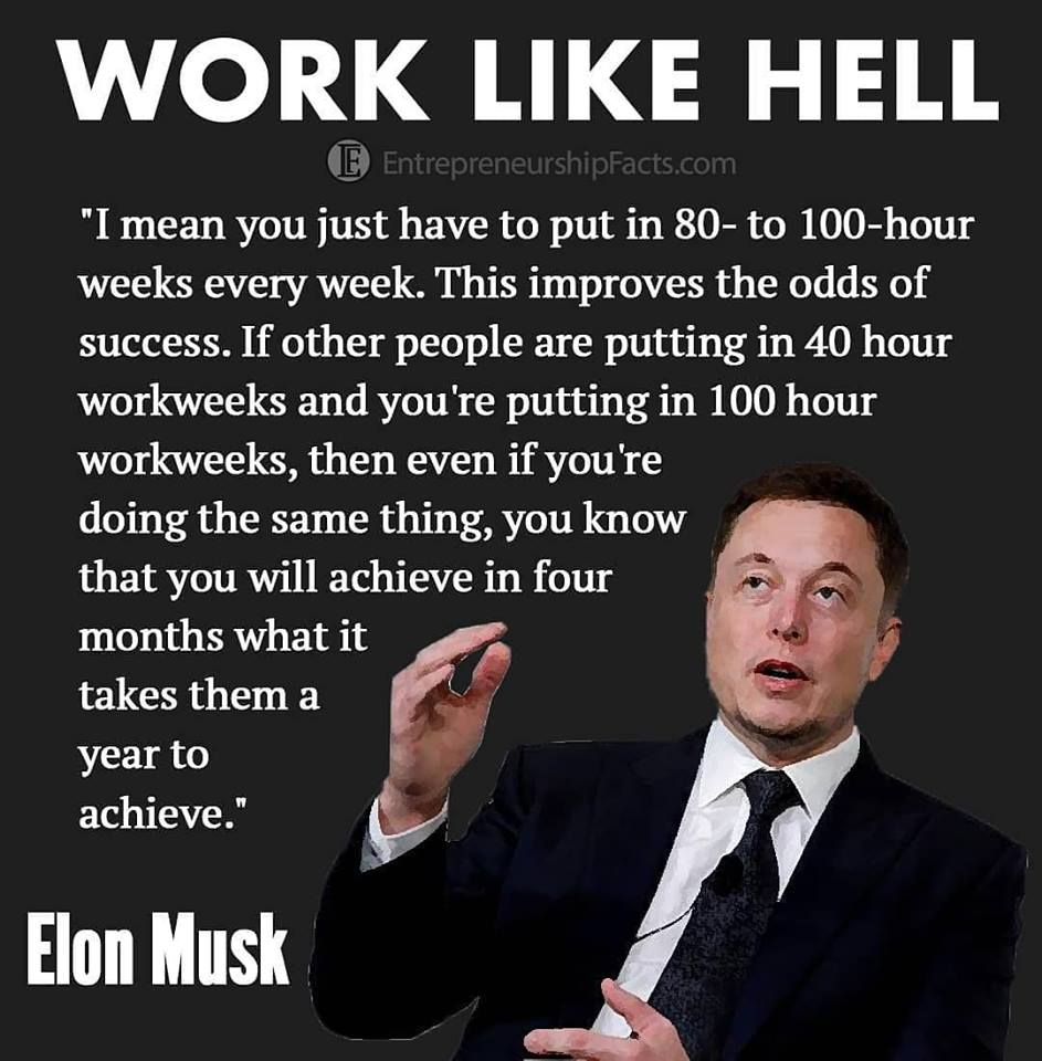 Elon musk on habits of working more
