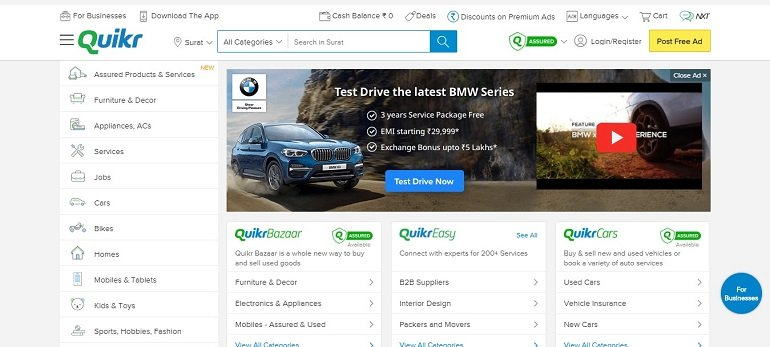 quikr Indian classified websites