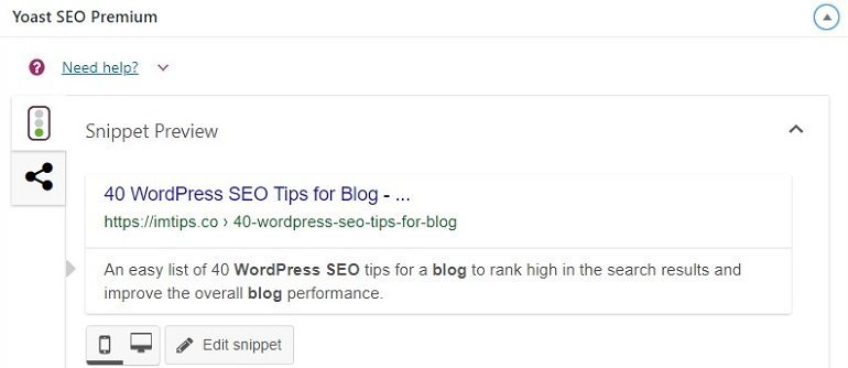 yoast seo snippet preview