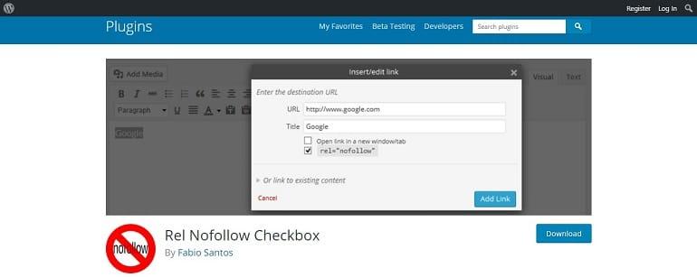 Rel nofollow checkbox wordpress plugin