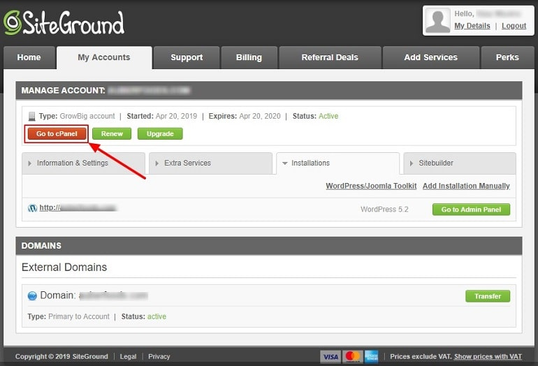 SiteGround my accounts go to cPanel