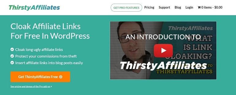 ThirstyAffiliates link cloaking plugins