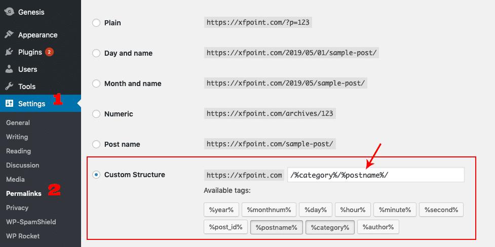 permalink settings in wordpress WooCommerce