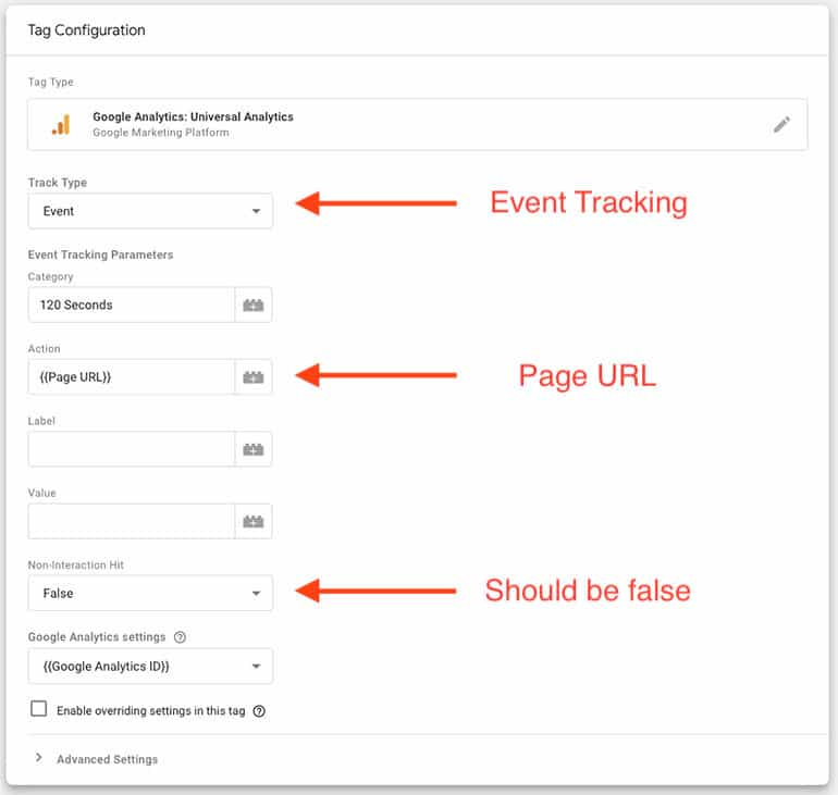 tag configuration for bounce rate