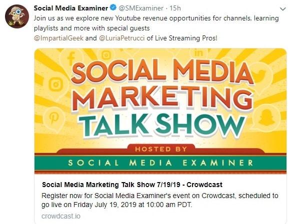 social media examiner twitter account