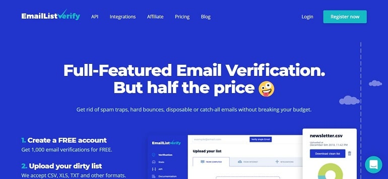 Email Checker & Bulk Email List Verifier - EmailListVerify