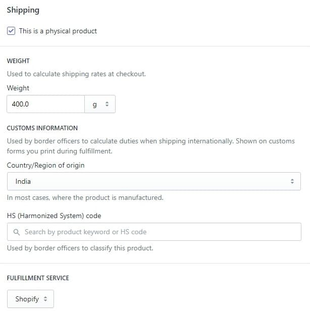 add product shipping info