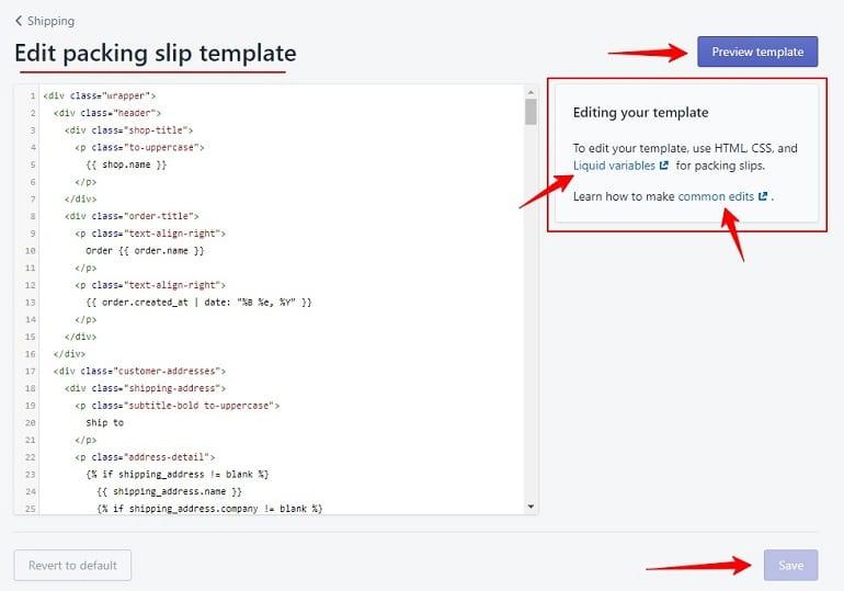 editing packing slip template