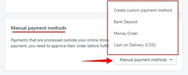 manual payment method in shopify
