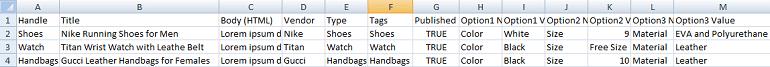 sample products csv file screenshot