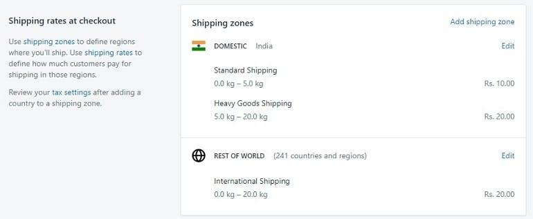 shipping rates at checkout