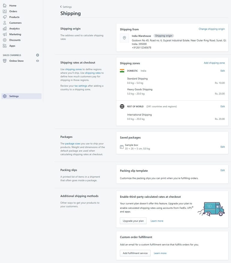 shipping settings in shopify store