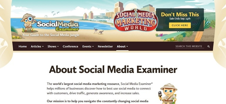 Social media examiner about us page