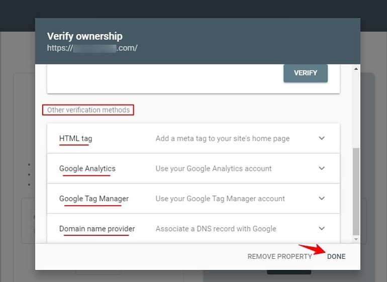 Verify ownership in google search console using other methods