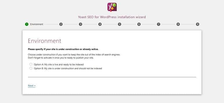 Yoast SEO configuration wizard image